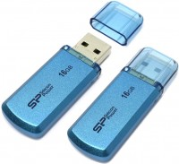Накопитель USB 2.0 ,16Гб Silicon Power Helios 101 SP016GBUF2101V1B,синий, металл