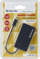 Концентратор USB Defender Quadro Transfer Type C→4*USB 2.0, черный, блистер