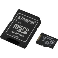 Карта памяти(+адаптер) microSDXC 64Гб/Class 10/UHS-I,Kingston Canvas Select+(SDCS2/64GB)